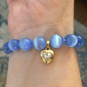 Cats eye glass bead gold plated cz heart bracelet